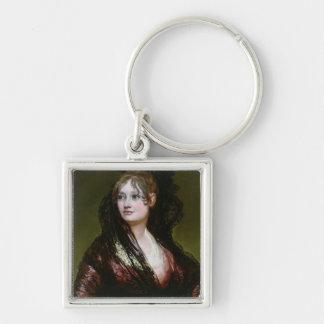 Dona Isabel de Porcel, exh. 1805 Silver-Colored Square Keychain