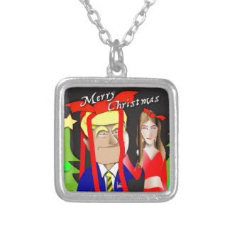 Donald and Melania Gift Silver Plated Necklace