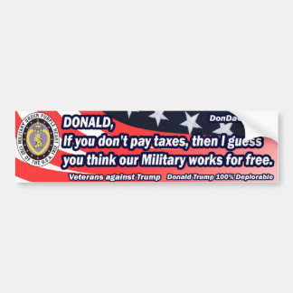Donald Military Works for Free Bumper Sticker