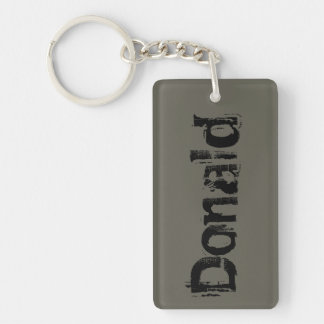 Donald Name Distressed Keychain - Gray/Black