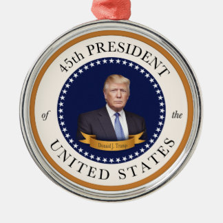 Donald Trump - 45th President of the United States Silver-Colored Round Ornament