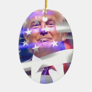 donald trump american flag ceramic oval ornament