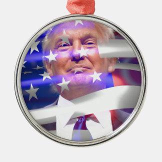 donald trump american flag Silver-Colored round ornament