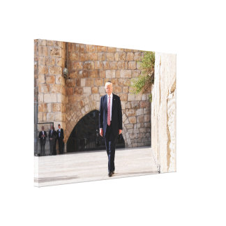 Donald Trump At Western Wall In Israel Canvas Print