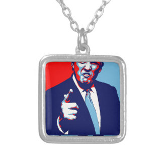 """Donald trump """"Fear"""" parody poster 2017 Silver Plated Necklace"""