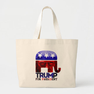 Donald Trump For President 2016 with photo Large Tote Bag