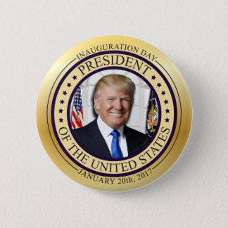 DONALD TRUMP GOLD COMMEMORATIVE INAUGURATION POTUS 2 INCH ROUND BUTTON