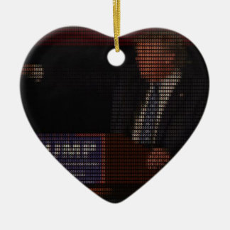Donald Trump Image Made of Dollar Signs Ceramic Heart Ornament