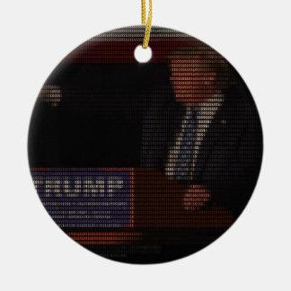 Donald Trump Image Made of Dollar Signs Round Ceramic Ornament