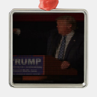 Donald Trump Image Made of Dollar Signs Silver-Colored Square Ornament
