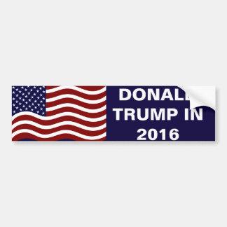 Donald Trump in 2016 USA Flag Car Bumper Sticker