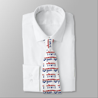 Donald Trump In Red, White & Blue Hebrew Tie