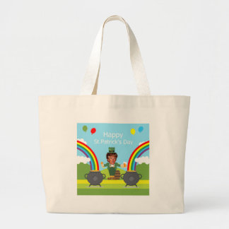 donald trump leprechaun large tote bag