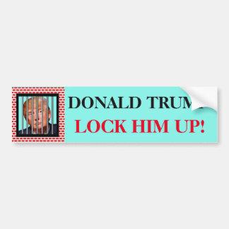 """""""DONALD TRUMP. Lock him up!"""" and Trump in prison Bumper Sticker"""