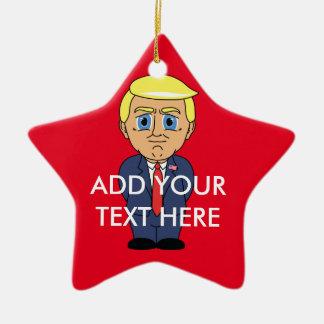 Donald Trump Looking Smug Ceramic Star Ornament