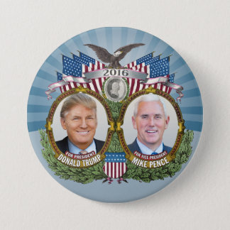 Donald Trump & Mike Pence Jugate Photo Blue Design 3 Inch Round Button