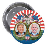 Donald Trump & Mike Pence Jugate Photo Red Blue 3 Inch Round Button
