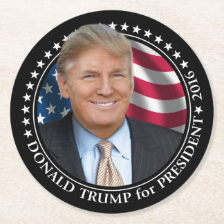 Donald Trump Photo - President 2016 Round Paper Coaster