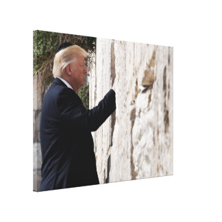 Donald Trump Places Note In Western Wall Canvas Print