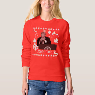 Donald Trump playing xmas bottle ugly sweater, F Sweatshirt