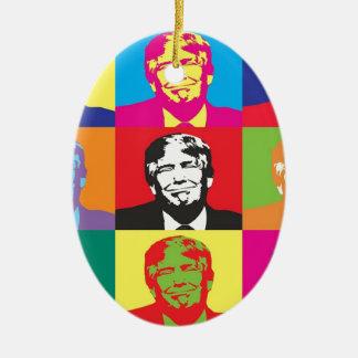Donald Trump Pop Art Ceramic Oval Ornament