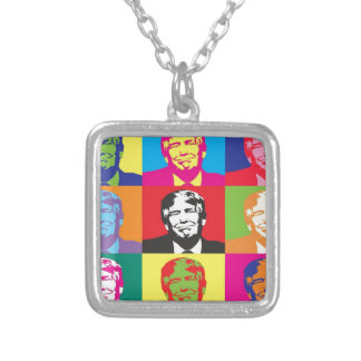 Donald Trump Pop Art Silver Plated Necklace
