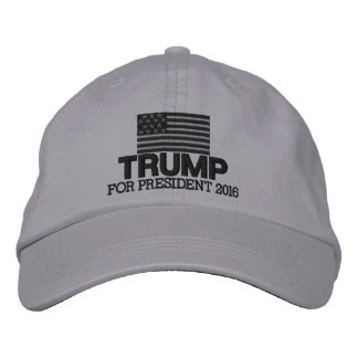 Donald Trump - President 2016 American Flag Black Embroidered Hat