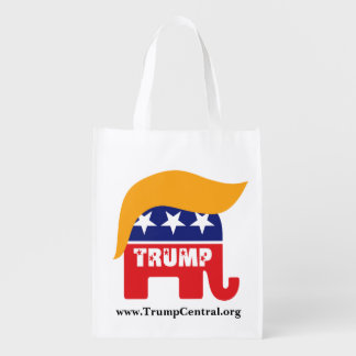 Donald Trump Republican Elephant Hair Logo Grocery Bags