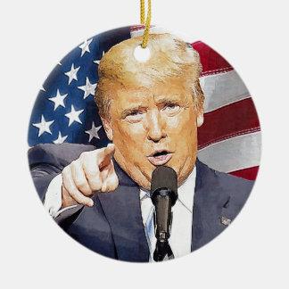 Donald Trump Round Ceramic Ornament