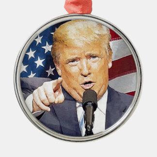 Donald Trump Silver-Colored Round Ornament