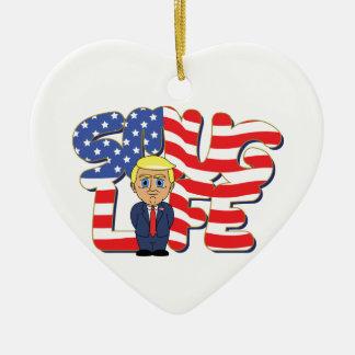 Donald Trump Smug Life Ceramic Heart Ornament