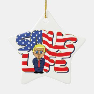 Donald Trump Smug Life Ceramic Star Ornament