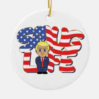 Donald Trump Smug Life Round Ceramic Ornament