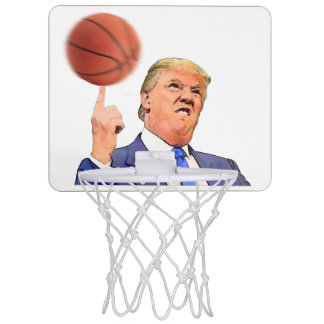 Donald Trump spinning a basketball on his finger Mini Basketball Hoop