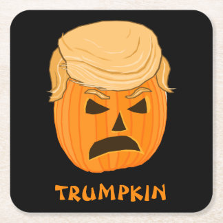 Donald Trump Trumpkin Funny Illustration Square Paper Coaster