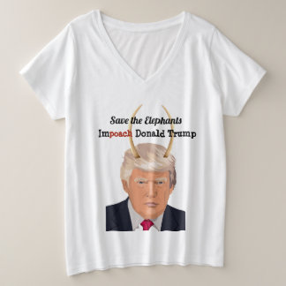 Donald Trump with Elephant Trump Devil Horns Plus Size V-Neck T-Shirt