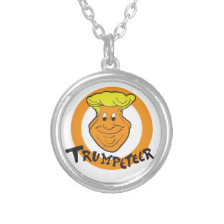 Donald Trumpeteer Caricature Silver Plated Necklace