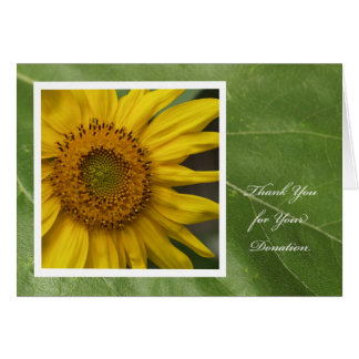 Donation Thank You Card -- Sunflower Thank You