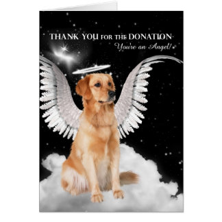 Donation Thank You Golden Retriever Dog Card
