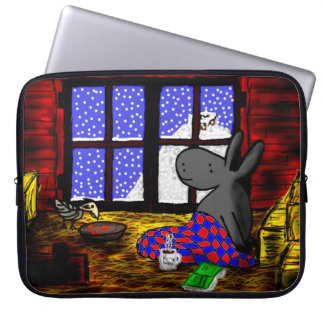 donkey and bird share a meal laptop sleeve
