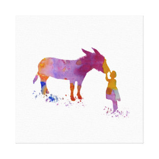 Donkey and child canvas print