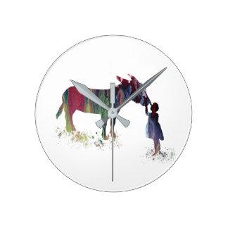 Donkey and child clock