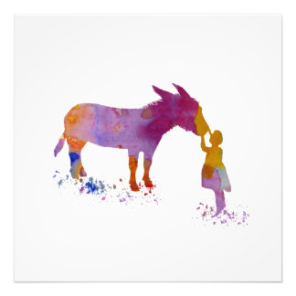 Donkey and child photo print
