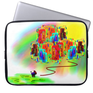donkey and city in color laptop sleeve