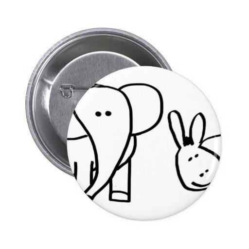 donkey and elephant (Blurtso and Harlan) Pins