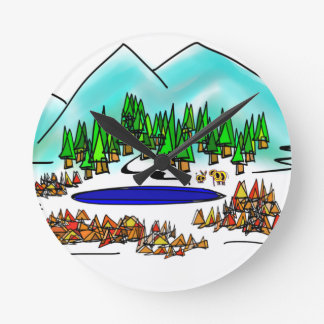 donkey and elephant in forest color wall clocks