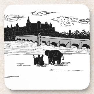 donkey and elephant in front of bridge coaster