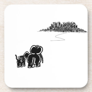 donkey and elephant look at city coaster