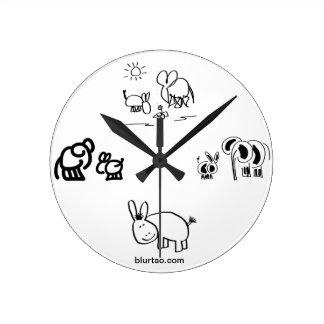 donkey and elephant tell time clock