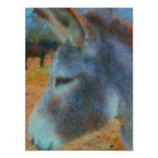Donkey and Horse painting poster